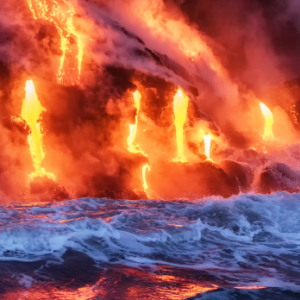 energetic power of Hawaiian lava flowing into the ocean