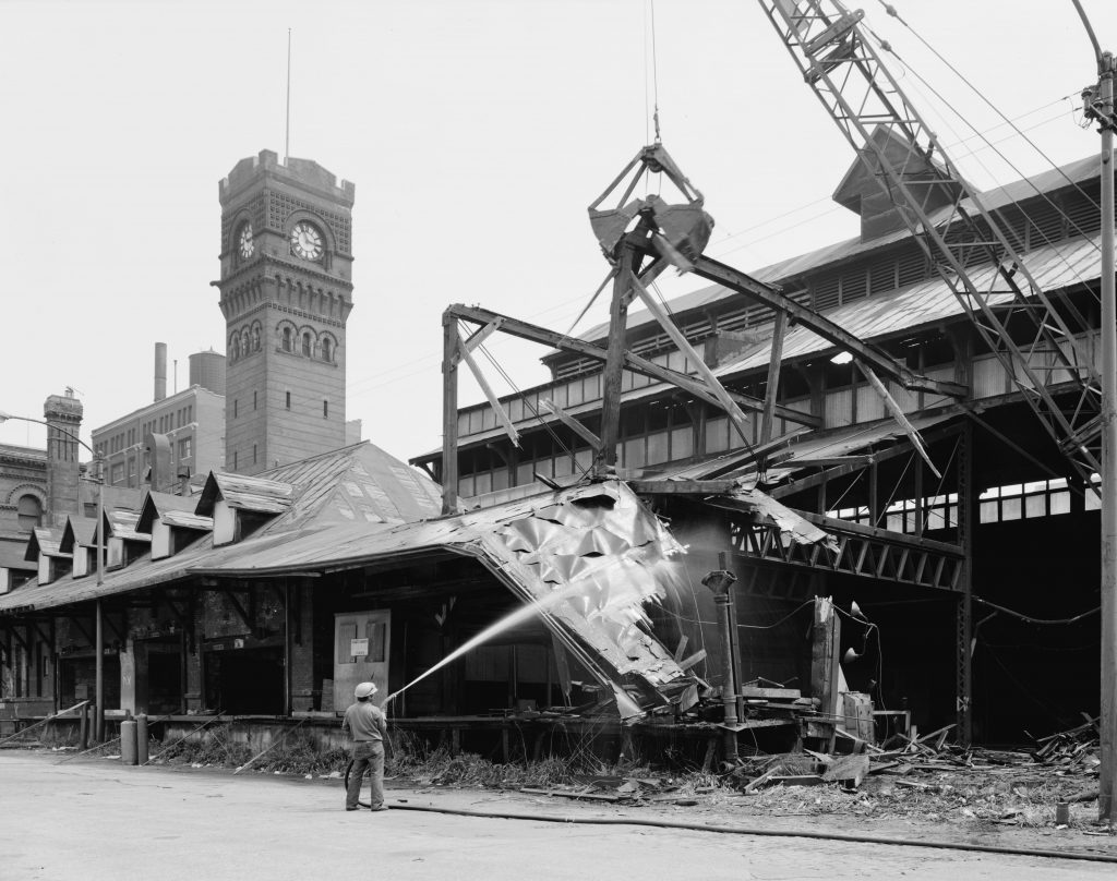 demolition of Dearborn Station Chicago Ilinois train shed in 1976