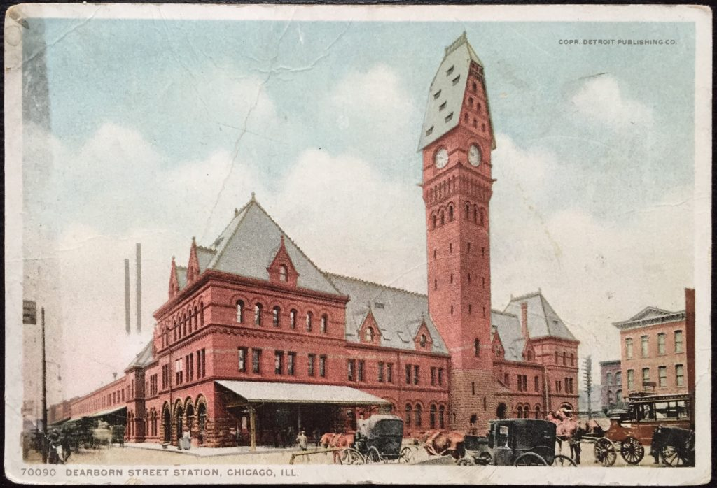 1907 postcard depicting Dearborn Station, Chicago, IL