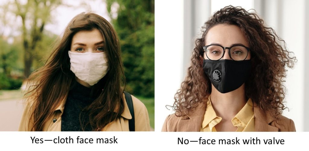 showing cloth face masks, one without a valve, and another with valve