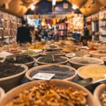 marketplace with bowls of herbs and spices